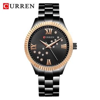 CURREN 9009 Fashion Black Watch Women Watches Women's Ladies Quartz Wrist watches