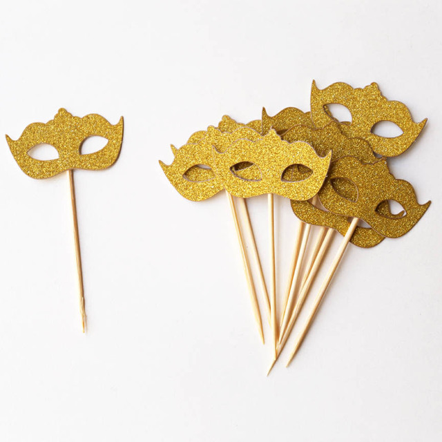 gold masquerade mask cupcake toppers bacheloretter party bridal shower wedding decor photo