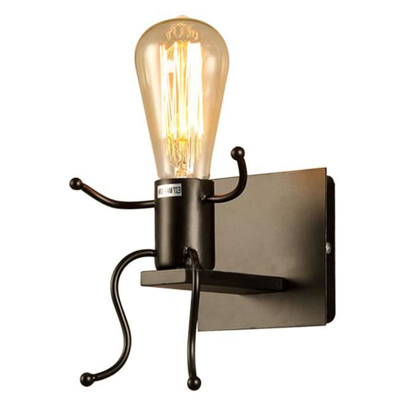 Lampen & Schirme Licht & Beleuchtung FleißIg Neue Kreative Wand Lampe E27 Mann Form Leuchte Nette Licht Eisen Innenwand Licht Für Schlafzimmer Büro Cafe Bar Newel
