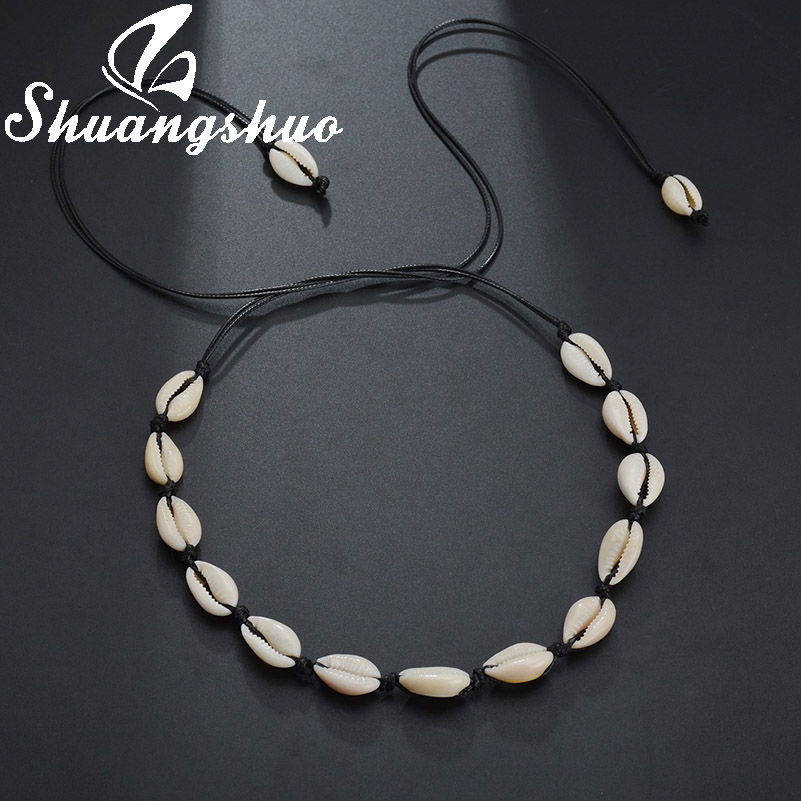 Shuangshuo Vintage Beach Chokers Shell Pendant Necklaces For Women Shell Collar femme Necklace Summer Bohemian Jewelry Gift