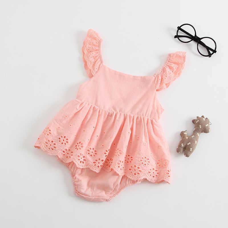 תינוקת בגדי קיץ ללא שרוולים יילוד תינוק שמלת כותנה תחרה תינוקות Romper סגנון שמלה עבור בנות נסיכת תינוק בגדים