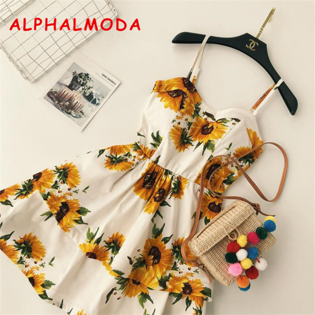 Alphalmoda New Print Dress High Waist Double Layers Pendulum Lotus Edge Women Summer Boho Beech Vestidos by Alphalmoda
