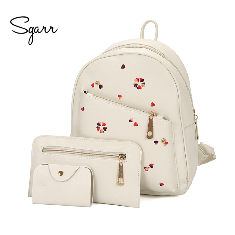 SGARR New Fashion PU Leather Floral Women Backpacks For Teenage Girls Bag Casual 3 Pieces Set School Backpack Small Travel Bag