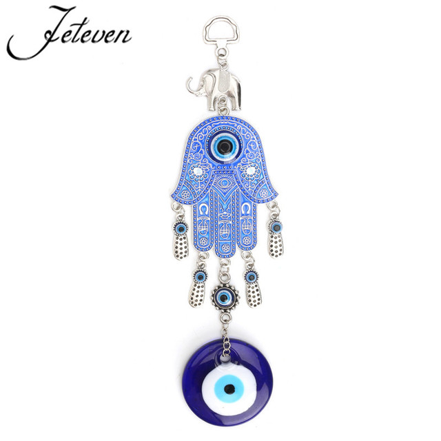 Hand Pendants Lucky Turkish Blue Evil Eye Wall Hanging Pendulum Jewish Kabbalah Amulet Gifts Protection Charm
