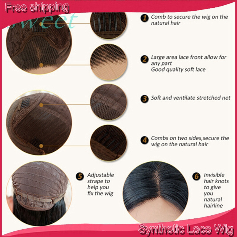 Lace Front Wig Box Braids Wig Baby Hiar Different Color Synthetic ...
