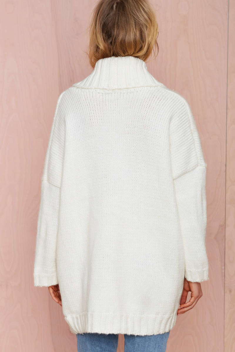 Good Quality Fashion Solid White Color Long Sleeve Knit Cardigan ...