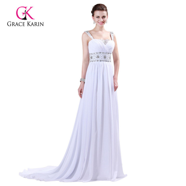 Prom Dresses 2018 Grace Karin Strap Chiffon Floor length Long Beaded ...