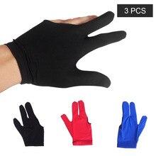 3 шт., спортивные перчатки из спандекса с тремя пальцами для кия, абсорбирующие перчатки для бильярдного кия, для левой и правой руки, аксессуары для бильярдного кия