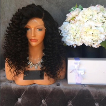 Glueless Lace Front Wigs Unprocessed Virgin Brazilian Kinky Curly Full lace Wigs With Baby Hair Bleached Knots For Black Women