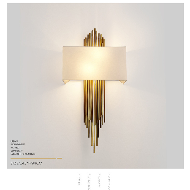Lovely Gold Wall Lamp Indoor Modern Wall Light Led Bedroom E14 Cloth Lampshade