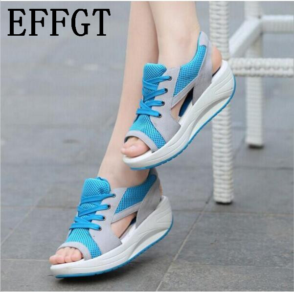 EFFGT 2018 Fashion Summer Women's Sandals Casual Mesh Breathable Shoes Women Ladies Wedges Sandals Lace Platform Sandalias N07 1