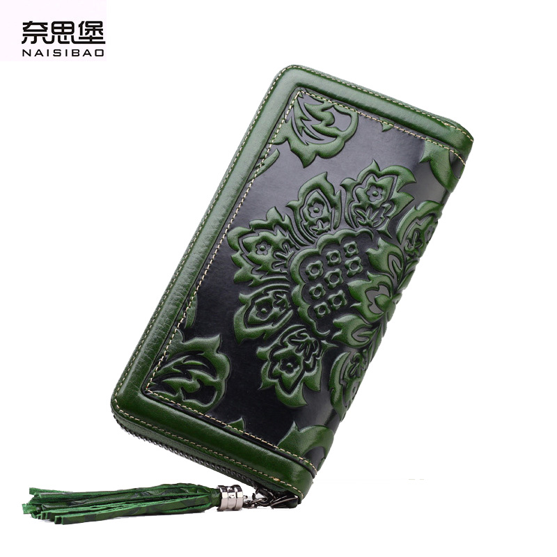 NAISIBAO 2018 luxury genuine leather women long wallet brand purse ladies clutch vintage designer printing wallets chinese style famous women luxury brand wallets genuine leather purse clutch ladies rivet pink wallet designer high quality long wallet thin