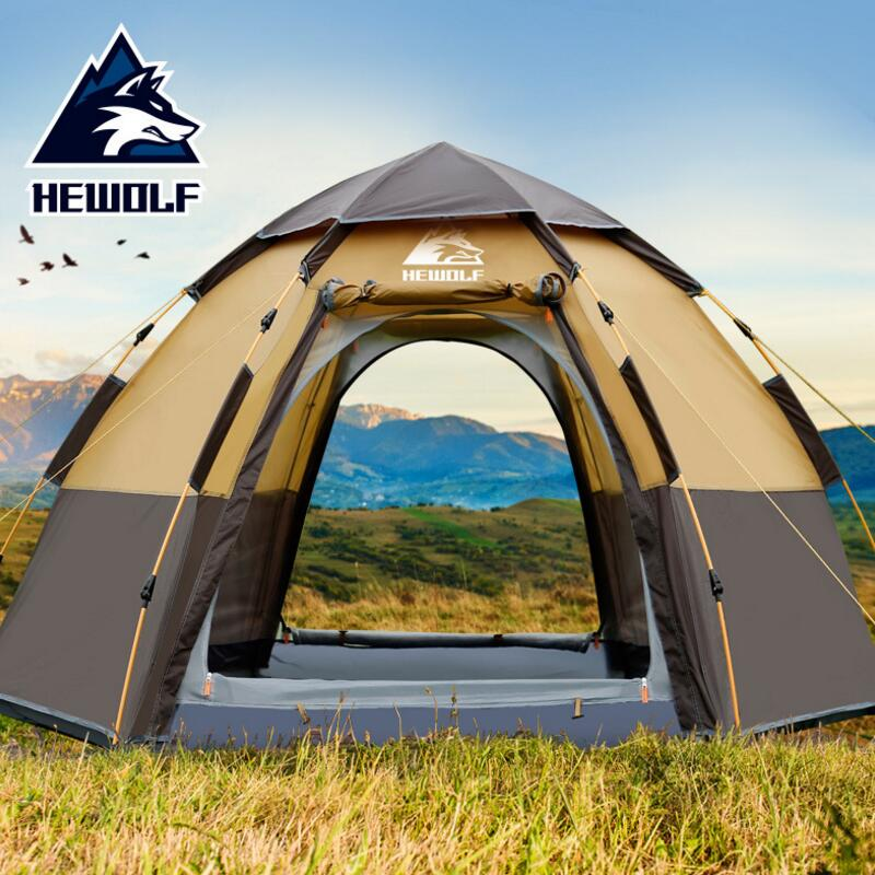 Hewolf Quick Automatic Opening Big Tent 5 8 Person Double Layer Large Camping Family Outdoor Party Tents Awning octagonal outdoor camping tent large space family tent 5 8 persons waterproof awning shelter beach party tent double door tents