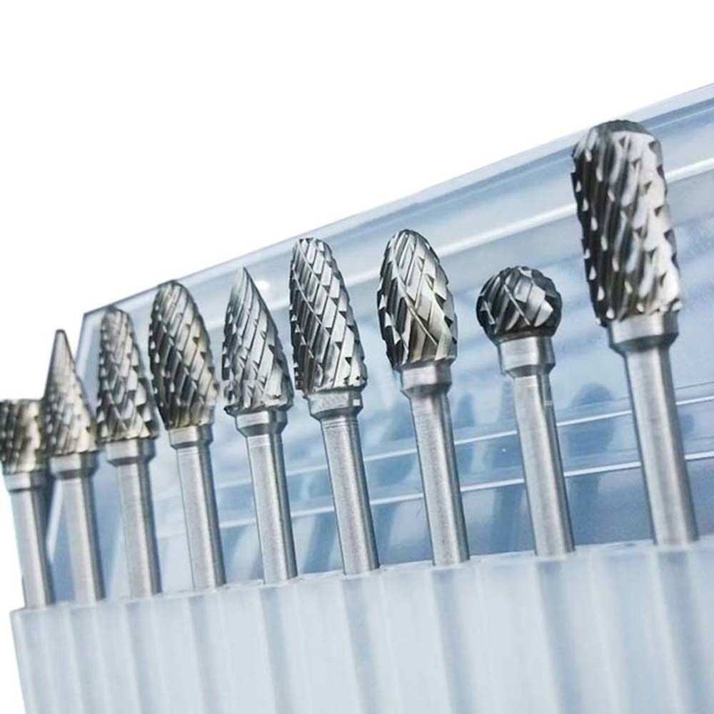 10pcs Tungsten Carbide Drill Bits For Metal Burr Tungstenio Burs Cnc Milling Cutter Dremel Mini Cone Drill Set Accessories