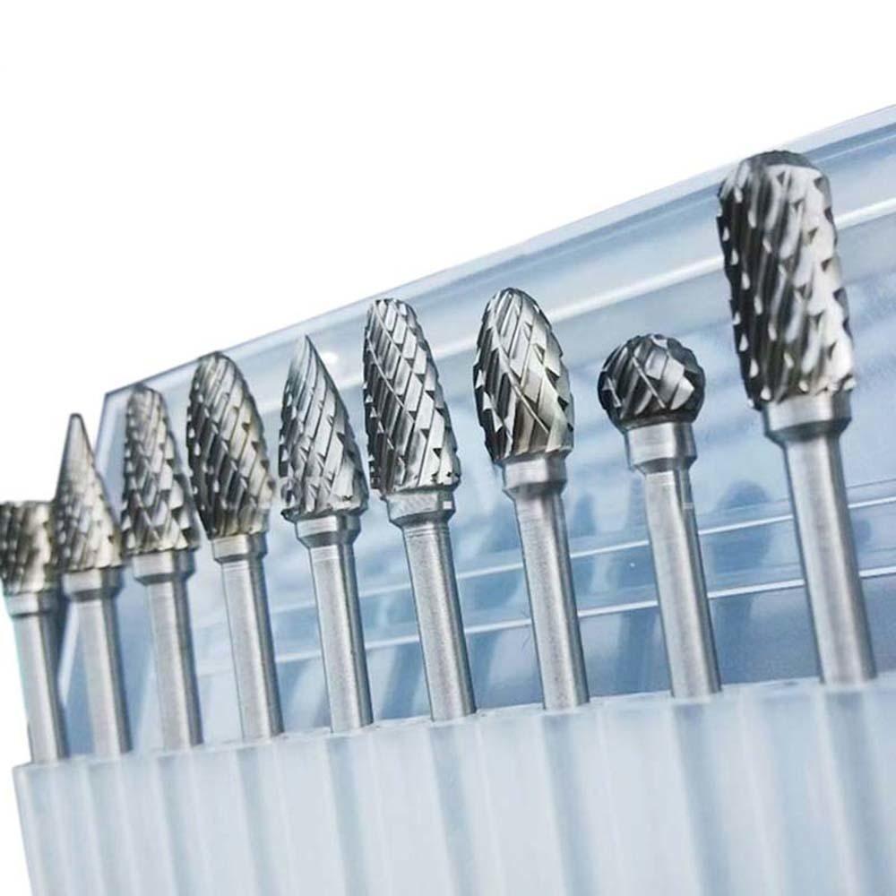 10pcs tungsten carbide drill bits for metal burr tungstenio burs cnc milling cutter dremel mini cone drill set accessories