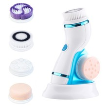 4 In 1 Ultrasonic Electric Facial Cleansing Brush Massager Rechargeable Pore Face Cleaning Device Skin Care Brush For Face