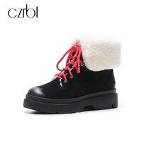 CZRBT Winter Warm Wool Genuine Leather Women Snow Boots Women High Quality Pigskin Leather Wedges Heel