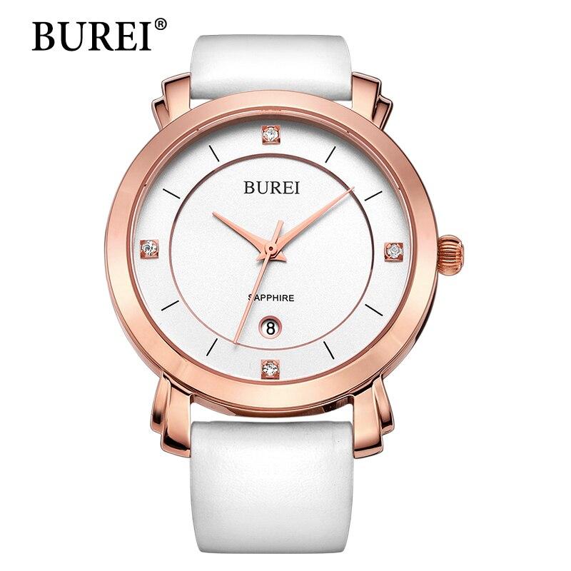 BUREI New Arrival Women Quartz Watch Top Fashion Brand Diamond Sapphire Lens Female Clock Leather Band Gold Steel wristwatch