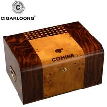 COHIBA Cigar Box Large Capacity double-storey cigar humidifier with and hygrometer HH-9002