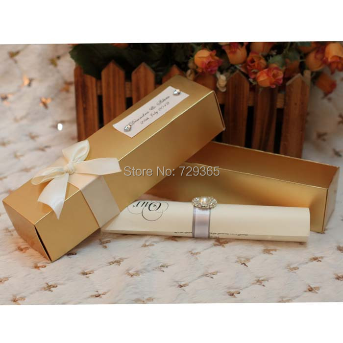 Fancy scroll wedding invitation card with nice box scroll for Application box decoration