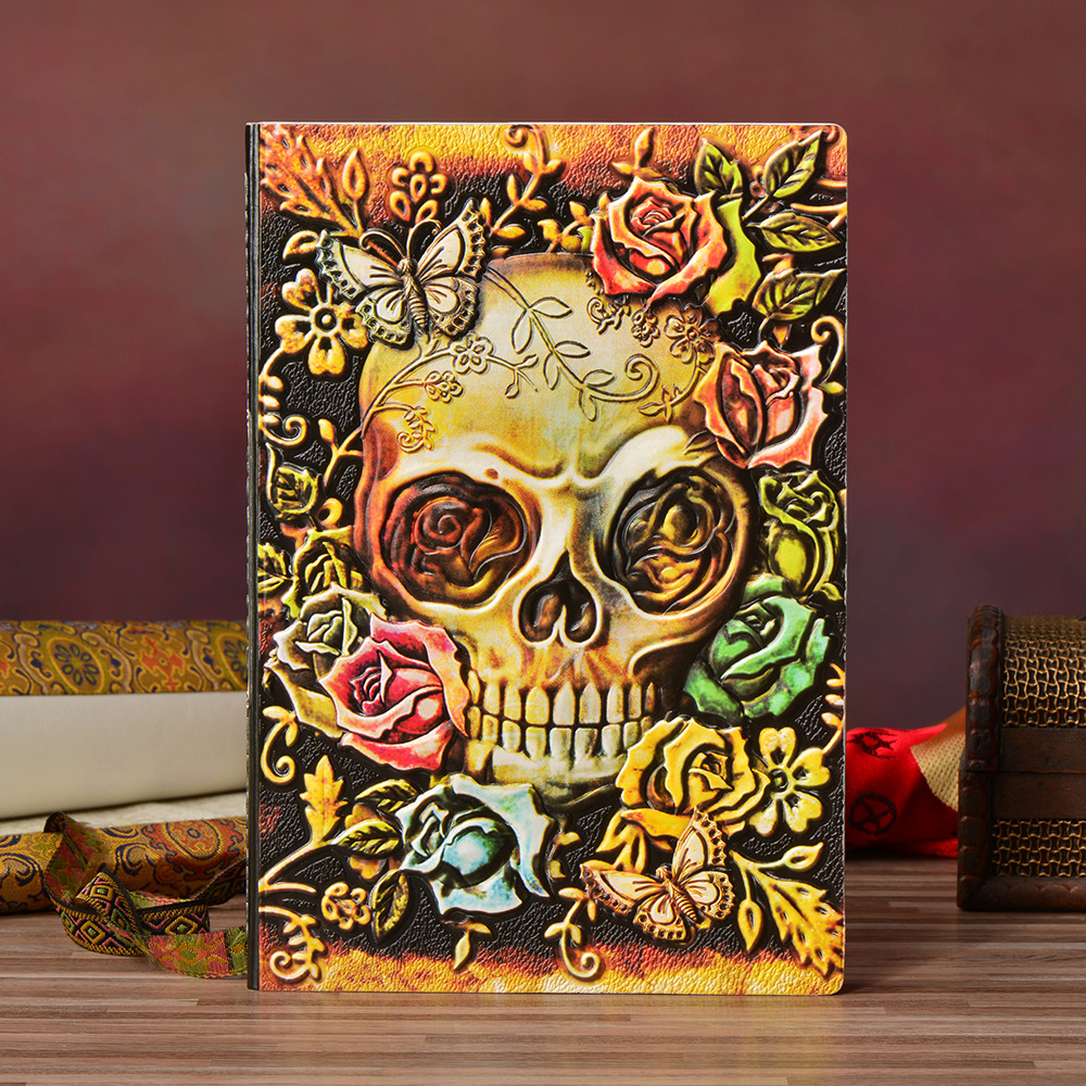 Gun And Rose Cool Hardcover PU Diary Book 21.5*14.5cm 100 Sheets Lined Paper Notebook Gift Free Shipping