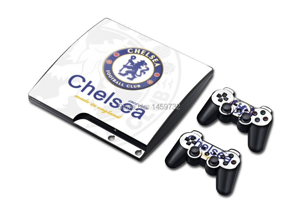 Cool Chelsea Decals Protector for Sony PlayStation 3 PS3 Slim Console and 2 Controller Skin Stickers
