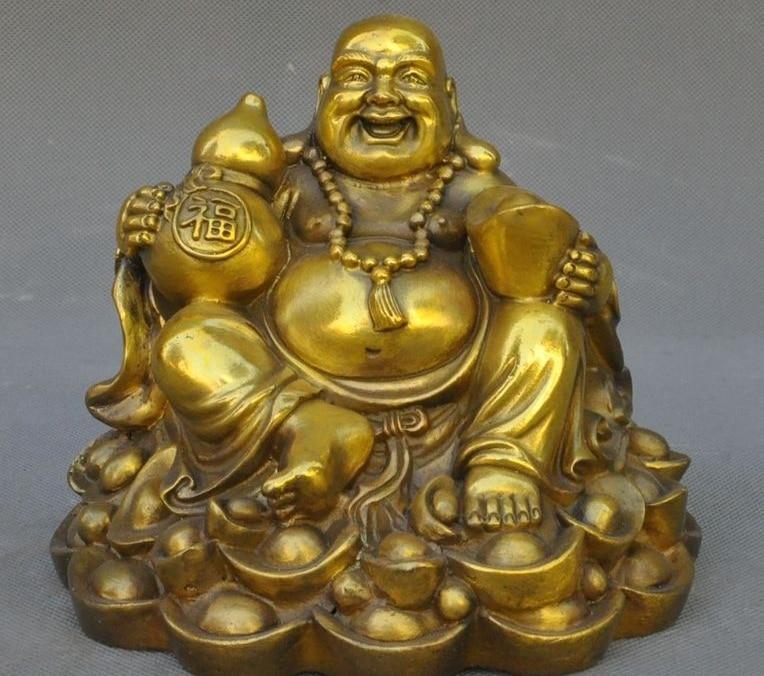 6 Chinese Buddhism brass yuanbao Money Coin Lucky Wealth Maitreya Buddha Statue6 Chinese Buddhism brass yuanbao Money Coin Lucky Wealth Maitreya Buddha Statue