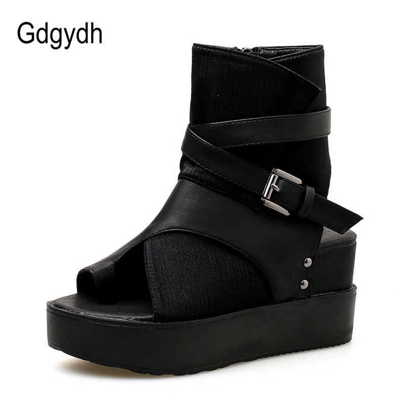 Gdgydh Siyah Kadınlar için yarım çizmeler İlkbahar Sonbahar Peep Toe Düz Topuk Çizmeler Kadın Toka Platformu Takozlar Ayakkabı Yaz Rahat