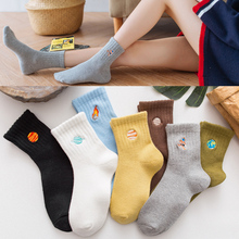 Fashion cotton women socks Japanese cartoon embroidery rocket space unisex couple comfortable breathable non-slip