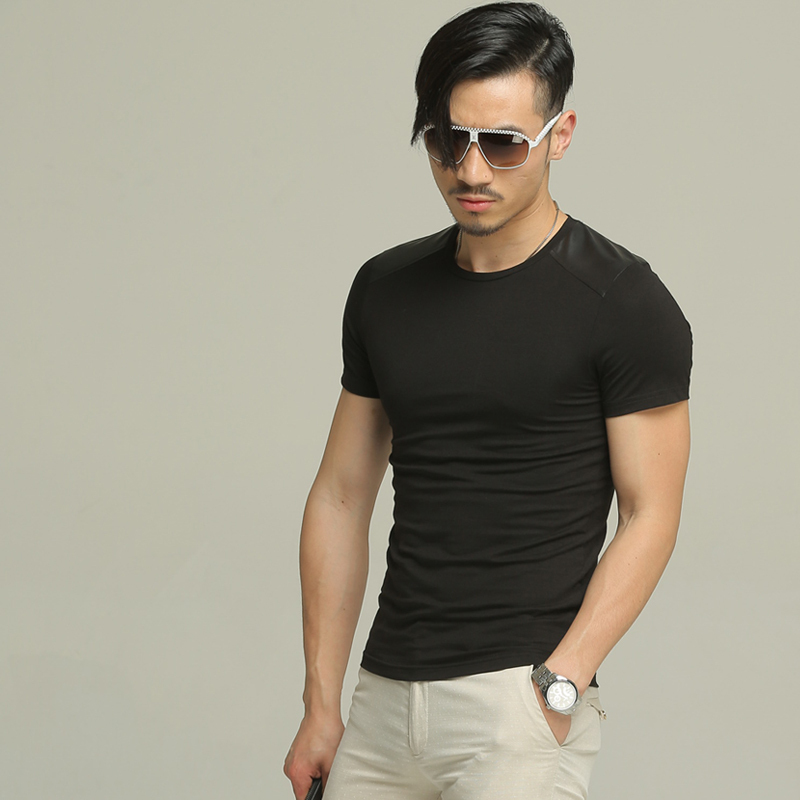 2015 Summer StyleLeather Patch Mens Black T shirt Men Short ...