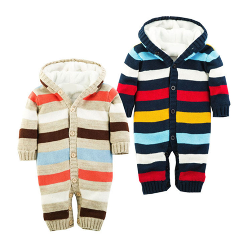 Brand baby rompers winter infant boys girls thicken striped cotton knitted jumpsuit with fleece kids clothes outerwear 0-2Y