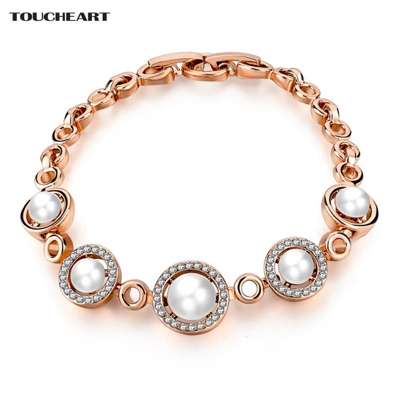 Купить женские браслеты toucheart золотистые с искусственным жемчугом