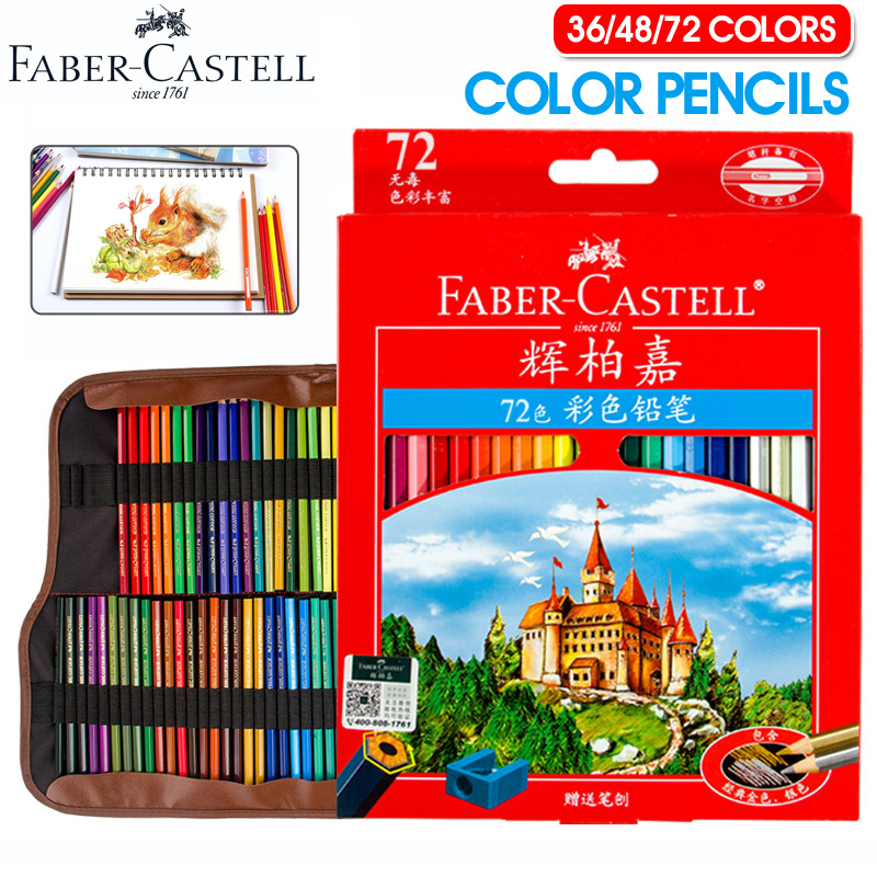 Faber-Castell 72 Colors Oily Pencils Non-toxic Professional Colored Pencil Set For Art School Student Stationery Sketch Supplies mini set non toxic silicone tea filter red yellow multi colored
