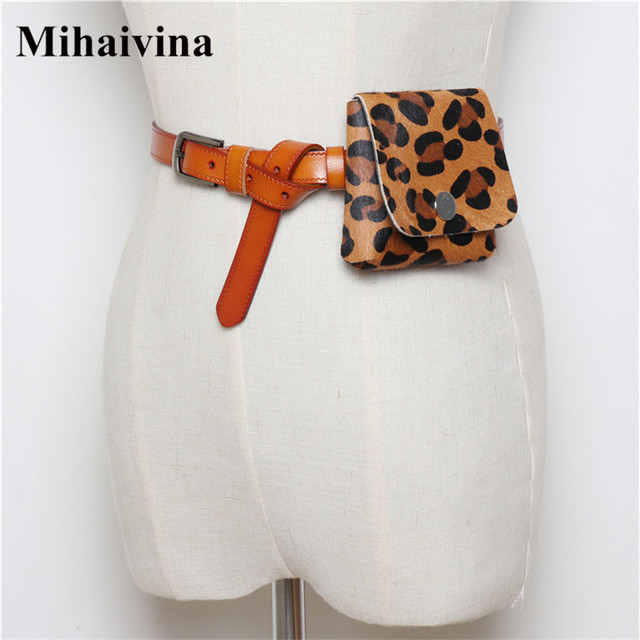 Mihaivina Leopard Women Waist Bag Vintage High Quality Waist Pack Mini Pu Leather Fanny Pack Simple Female Belt Bags Wholesale