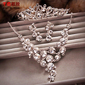 bridal jewelry Rhinestone Parure fall evening wedding jewelry sets crystal crown necklace earrings wedding accessories