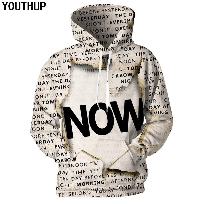 YOUTHUP 2018 New Autumn Hoodies 3d Sweatshirts Men Women Hoodies Letter Print Couple Tracksuit Funny Hooded 3d Hoody Streetwear