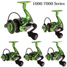 Metal Arm 13+1BB Spinning Fishing Reel Foldable Handle Fishing Reels Green 1000-7000 Series G-Ratio 5.5:1 Drive Fish Tools