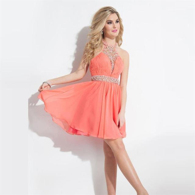 Short Coral Homecoming Dresses Beaded Top A Line Chiffon