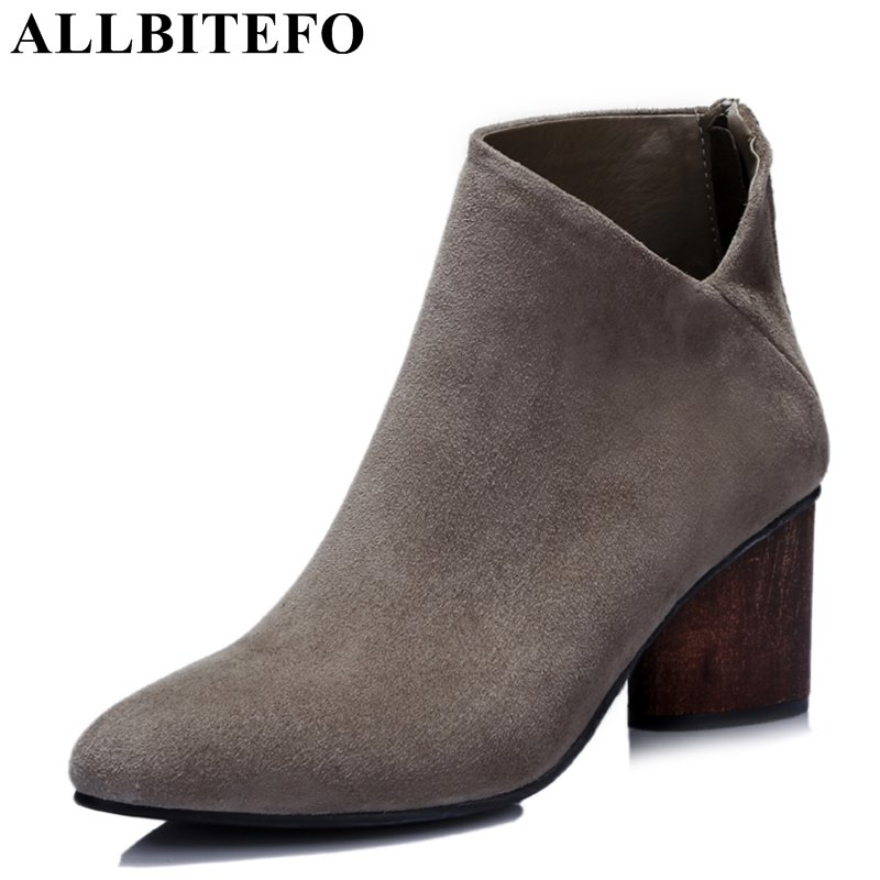 ALLBITEFO new arrive sheepskin round toe medium heel martin boots brand thick heel high quality women boots ankle boots woman allbitefo genuine leather pointed toe thick heel women boots fashion buckle medium heel martin boots ankle boots for woman