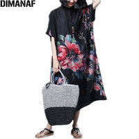 DIMANAF Women Dress Summer Plus Size Batwing Chiffon Floral Print Female Vintage Vestido Loose Oversize N Long Dress 5XL 2018