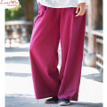 spring autumn handsome pockets linen harem style long women wide leg pants