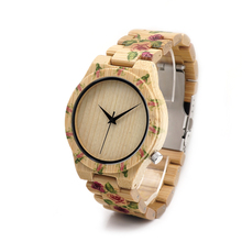 BOBO BIRD D21 Mens Casual Wristwatches Wooden Bamboo Watches Top Brand Luxury UV Printed Flowers Links Watch