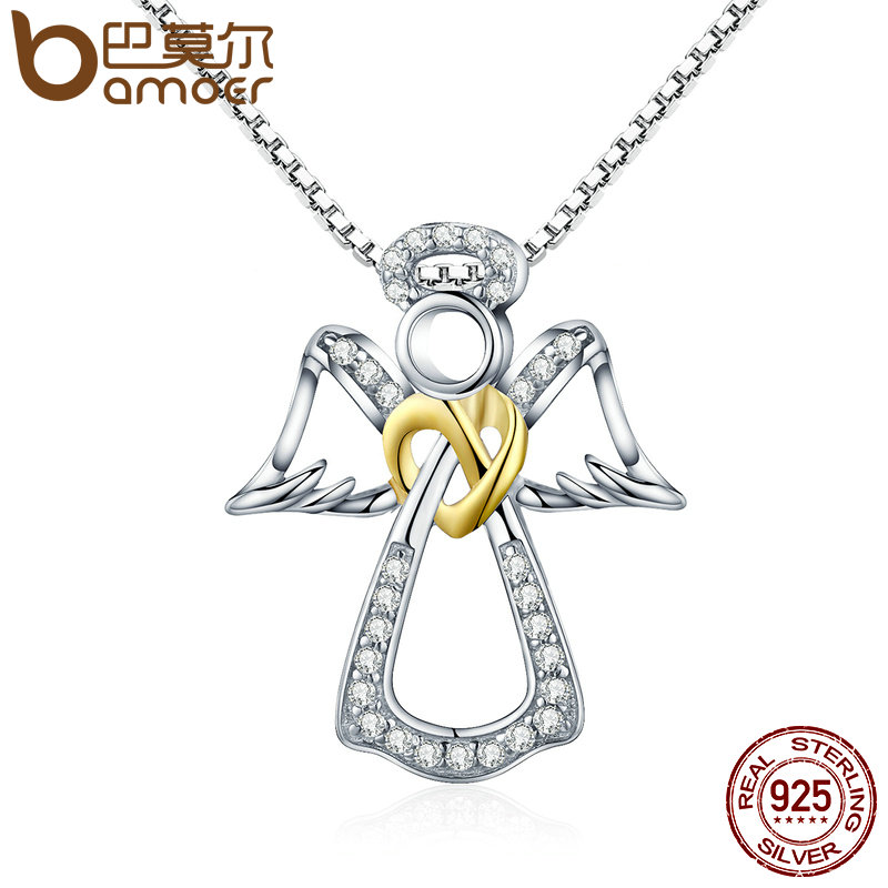 BAMOER Authentic 925 Sterling Silver Guardian Angel Heart Pendant Necklaces Dazzling CZ Luxury Sterling Silver Jewelry SCN123 bamoer authentic 925 sterling silver red cz evil and angel pendant necklace earrings jewelry set sterling silver jewelry zh067