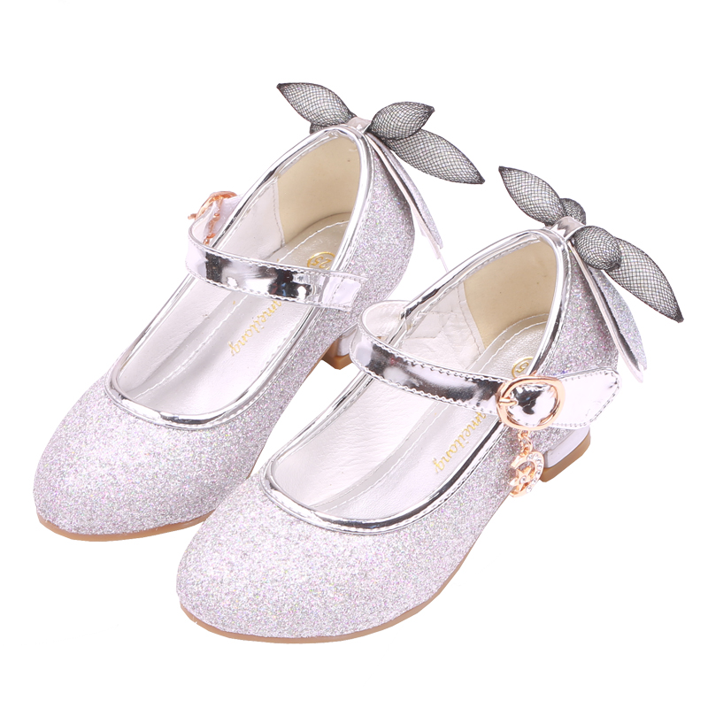 Mudipanda White shoes for Kids 2018 New Girl High-heeled Sandals Increase Bow Purple Child High-heeled shoes Silver Dance ...