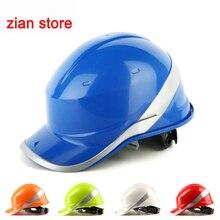 無料印刷ロゴ安全ヘルメットヘルメットワークキャップ ABS 断熱材蛍光体ストライプ建設保護ヘルメット