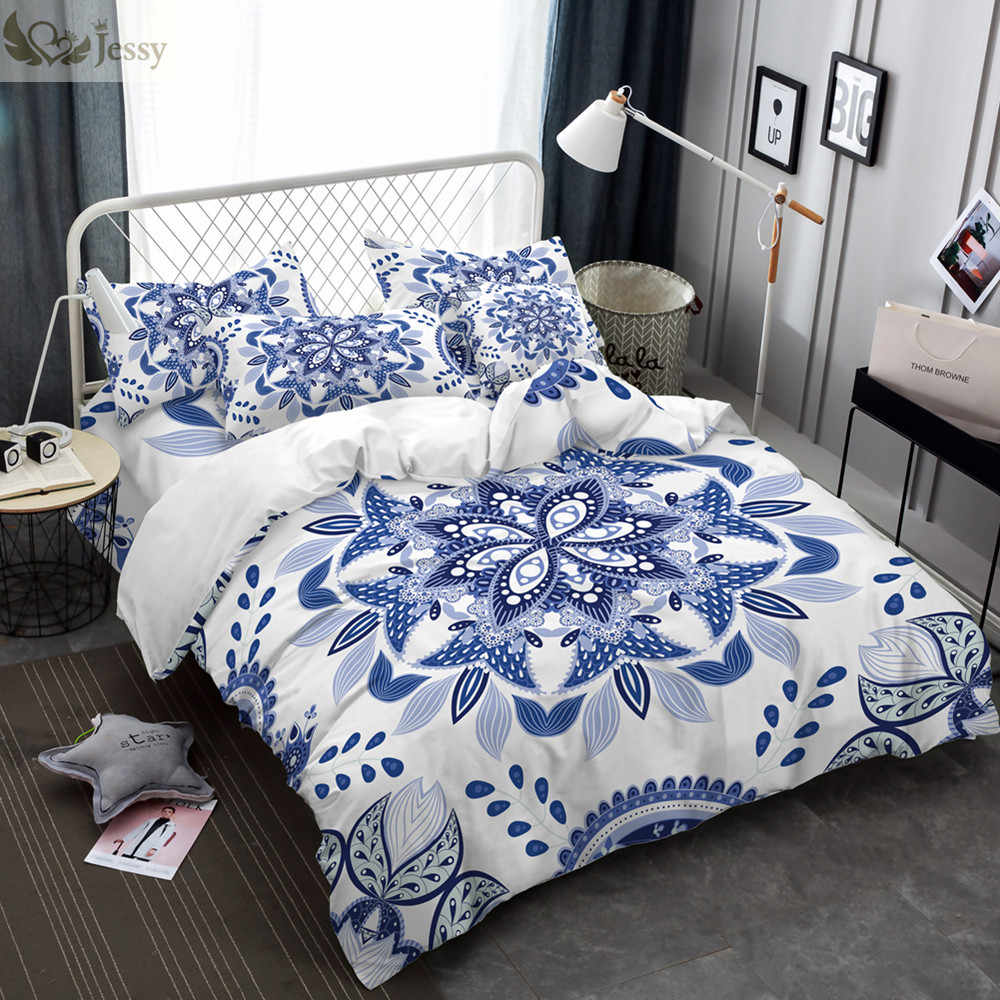 Luxury Chinese Ethnic Style Bedding Set Duvet Cover Set Blue White Porcelain Bed Linens Pillowcases 45*45cm Cushion Cover