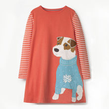 Littlemandy Girls Dress Dog 2018 Autumn Emboridery Princess Dress Brand Kids Baby Girls Clothes Long Sleeve Dresses with Dogs