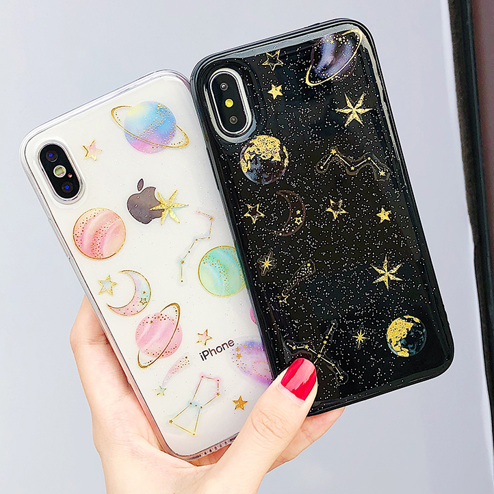 Hot Bling Glitter Space Stars Case for iPhone 7 Case for iPhone 8 7 6 6S Plus X Back Cover Girly Transparent Soft Silicone Cases