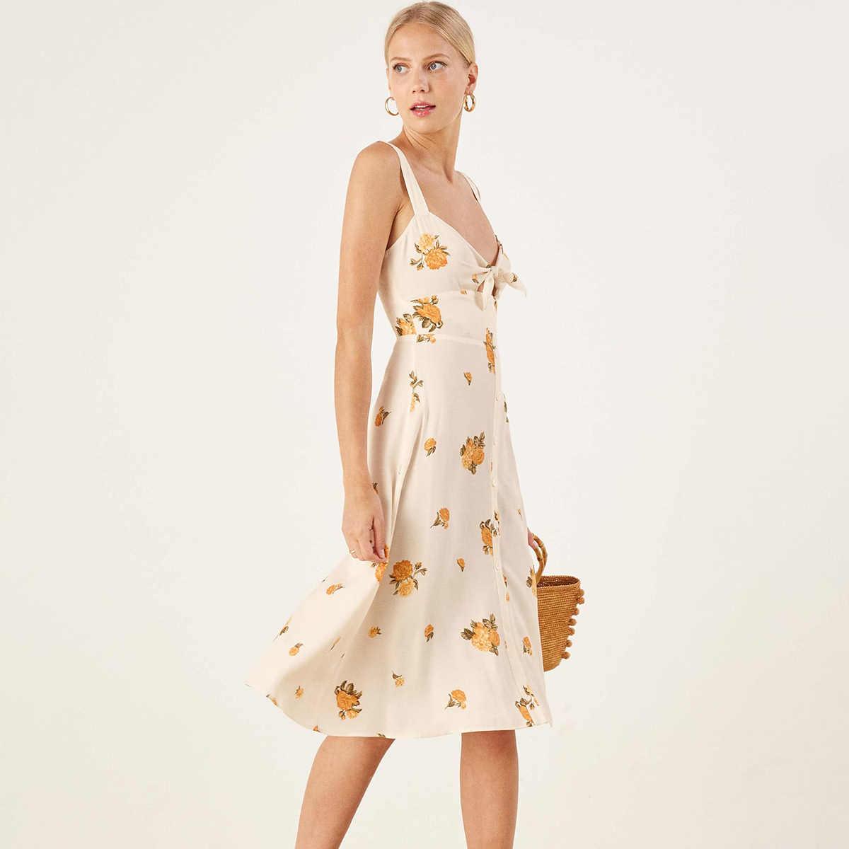 f2efc6a488990 Floral Print Midi Dress Women Frankfort Sweetheart Bow Strap Button-Up Sexy  Dress 2019 Summer Ladies Elegant Party Club Dress
