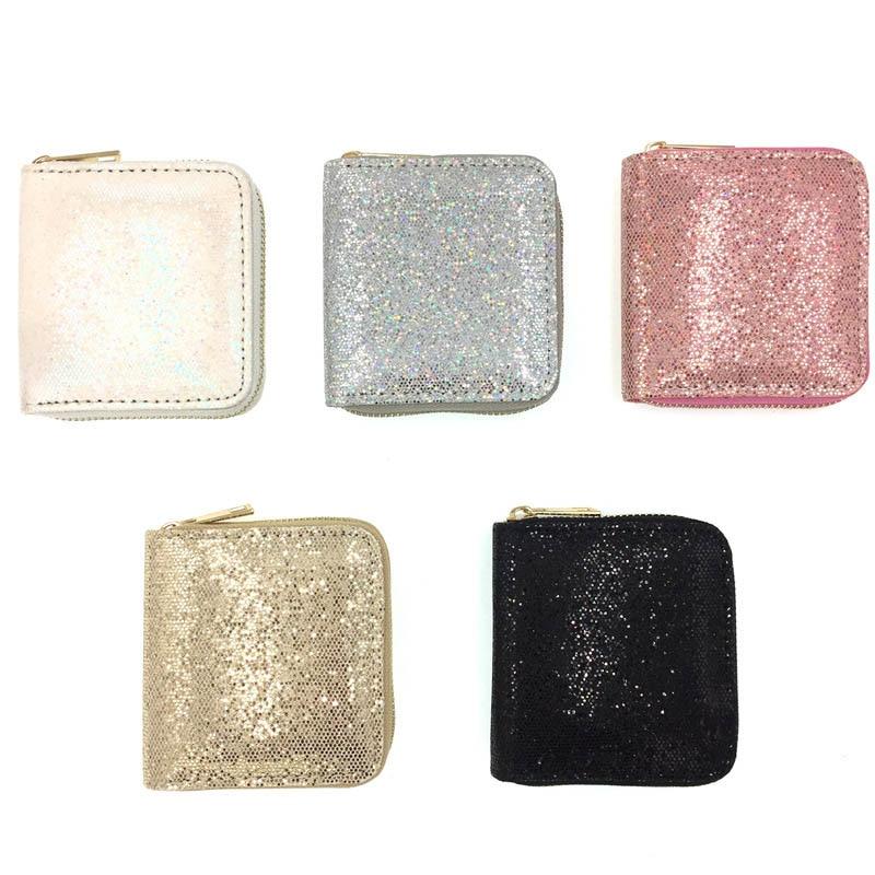 KANDRA New Women's Wallet Small Gold Glitter Short Wallet Women Sequined Bank Credit Card Bolder Woman's Gift Wholesale
